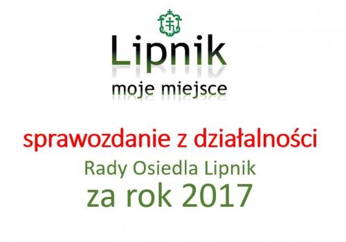 Sprawozdanie z działalności RO Lipnik za rok 2017