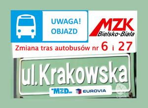 Zmiana tras MZK 6 i 27 - w rejonie ul.Krakowskiej